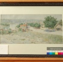 Image of Painting - View of Old Frankfort with Wagons